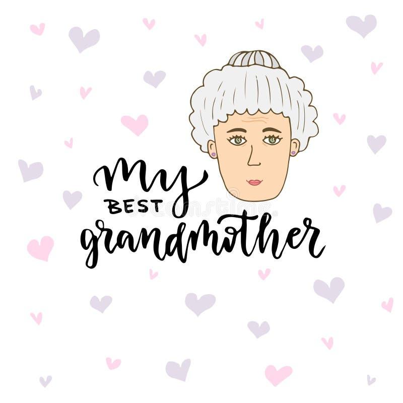 Cartão do vetor Cara da mulher da garatuja do alvorecer da mão com rotulação de minha melhor avó ilustração royalty free