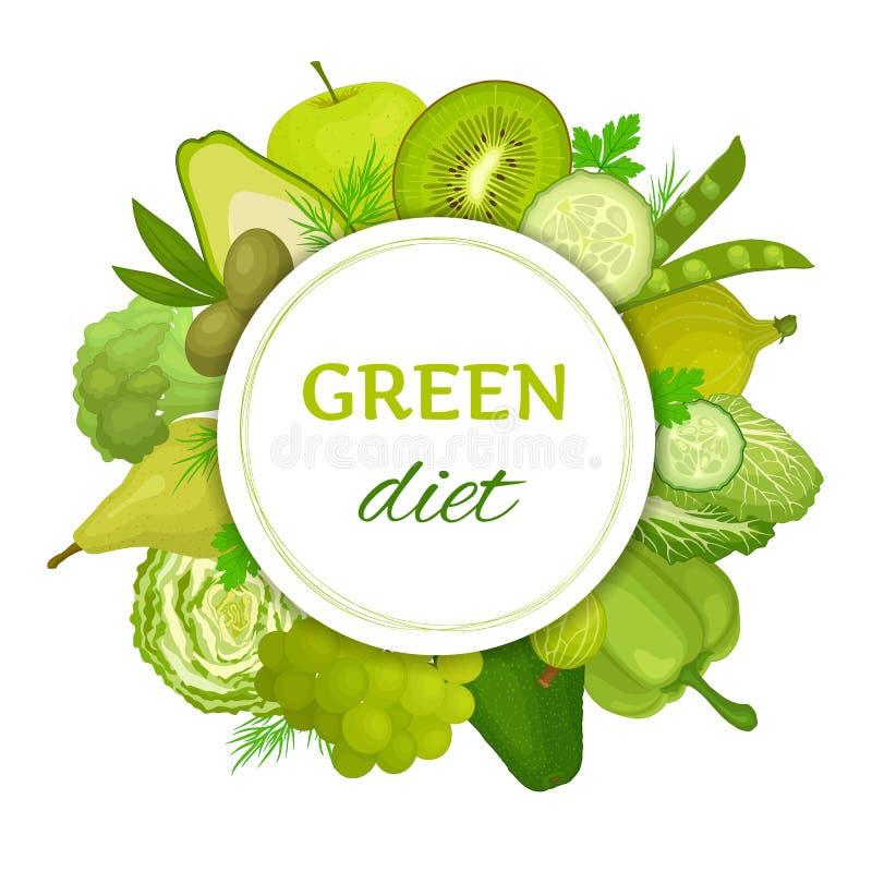 Cart?o do vetor com alimento verde Esverdeie a dieta ilustração royalty free