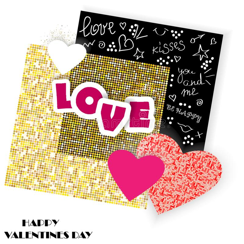 Cartão do vetor com corações cortados de papel, elementos do garrancho e textura dourada Fundo romântico para o dia do ` s do Val ilustração do vetor