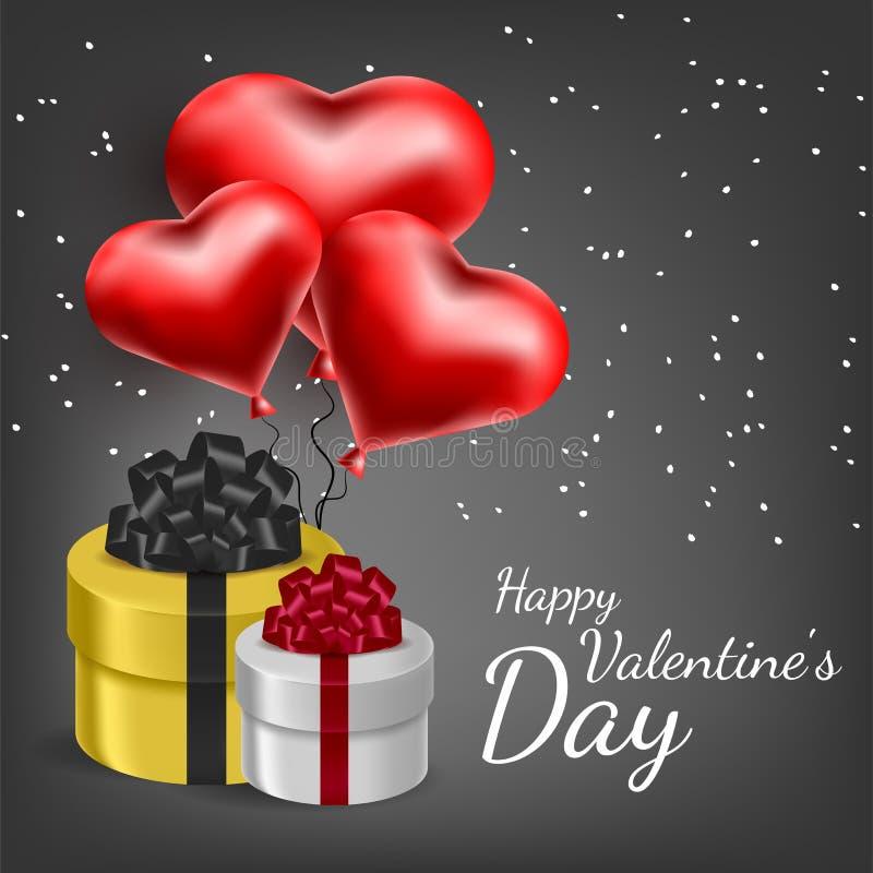 Cartão do vetor com corações 3d Dia do Valentim s Amor e romance fotografia de stock royalty free