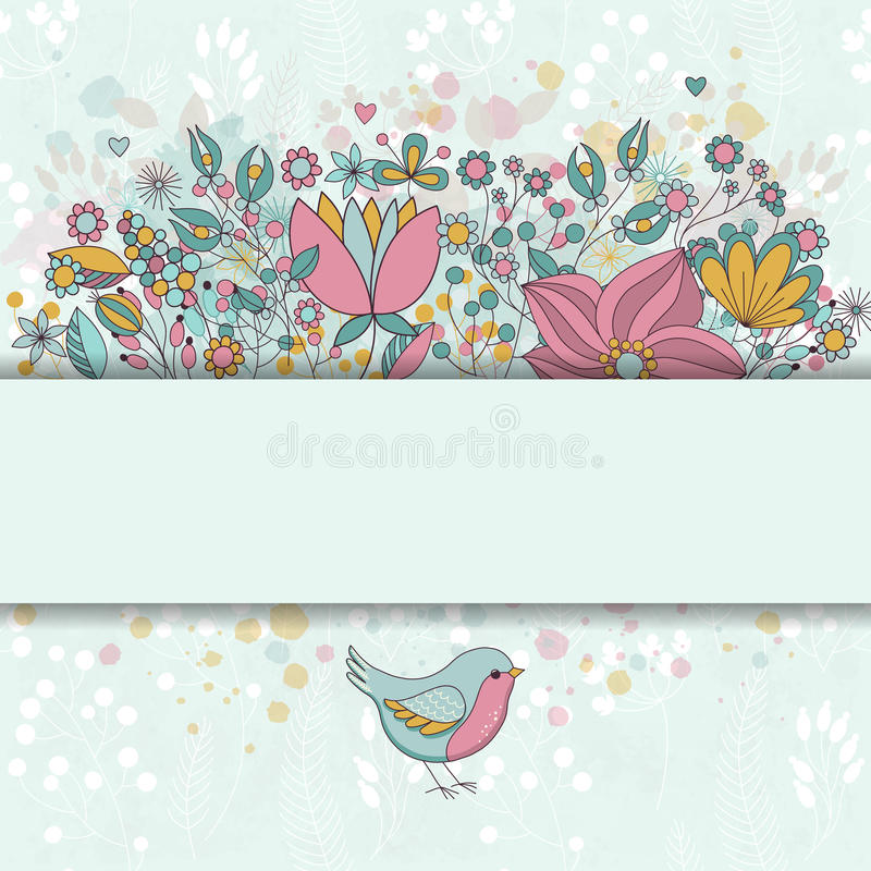 Cartão do vetor com flores e pássaro imagens de stock