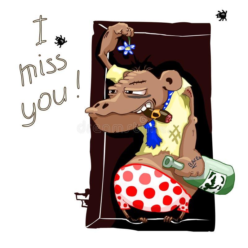 Cartão do vetor com macaco Gorila patético com a garrafa do álcool e da flor murchada Consequências de partidos do álcool humor ilustração royalty free