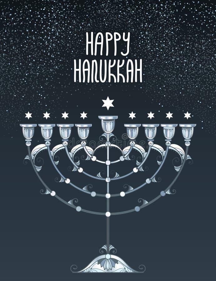 Cartão do vetor com menorah do Hanukkah do esboço ou candelabro e estrelas de David de prata de Chanukiah no fundo preto ilustração stock