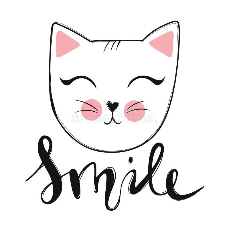 Cartão do vetor com o gato bonito da forma Gatinho à moda Vaquinha da garatuja ilustração royalty free