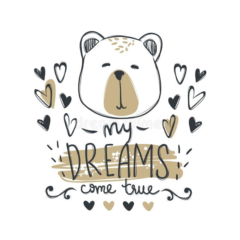 Cartão do vetor com o urso bonito da forma Urso de peluche à moda Garatuja k ilustração stock