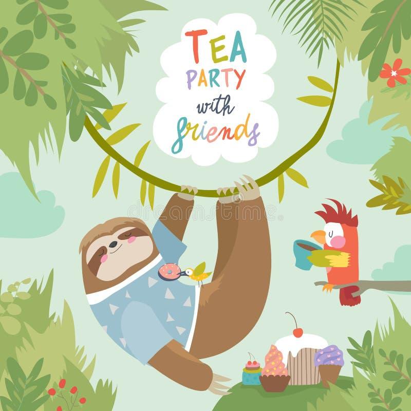 Cartão do vetor com preguiça bonito e o papagaio pequeno ilustração royalty free
