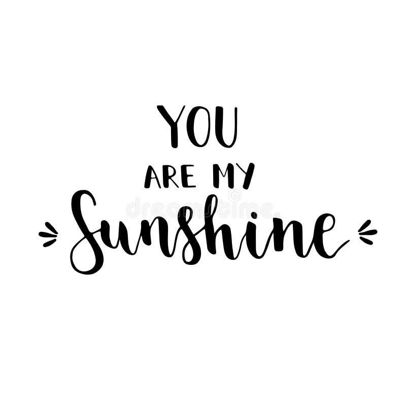 Cartão do vetor com texto você é minha luz do sol ilustração royalty free