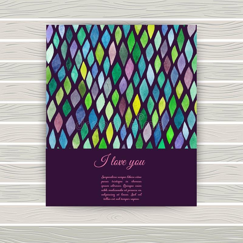Cartão do vetor com textura da aquarela Convites ou ann ilustração royalty free
