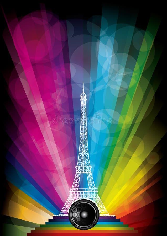 Cartão do vetor com torre Eiffel ilustração do vetor