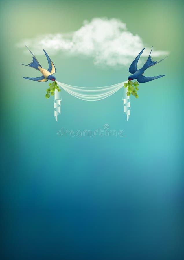 Cartão do vetor da andorinha do pássaro de voo ilustração do vetor