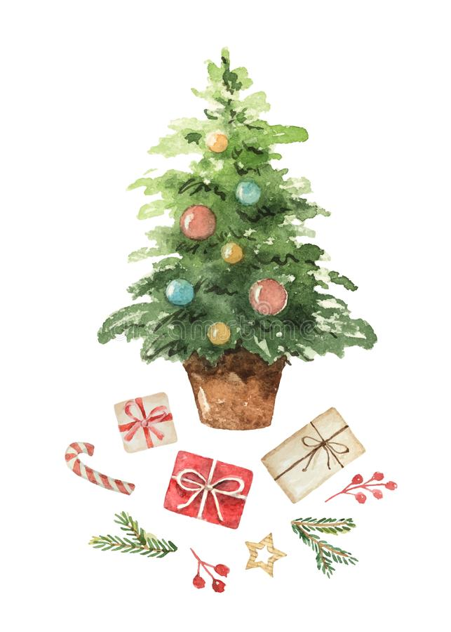 Cartão do vetor da aquarela com árvore de Natal, ramos spruce e presentes ilustração do vetor