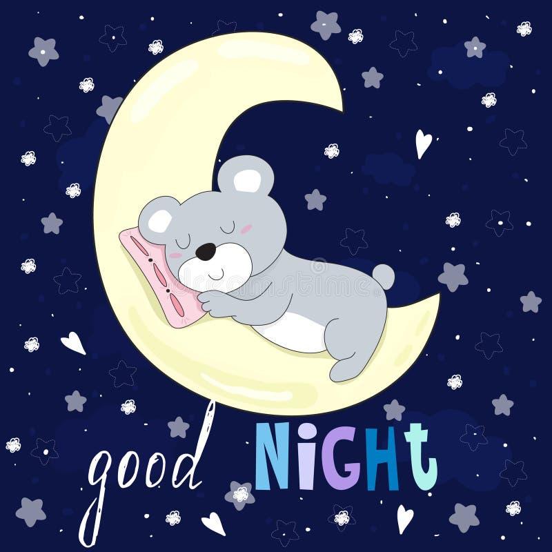 Cartão do vetor da boa noite com sono do urso na lua ilustração do vetor