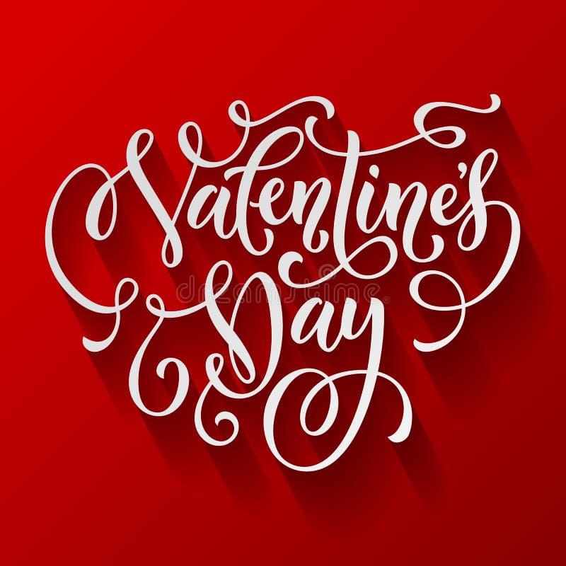 Cartão do vetor da caligrafia do texto de Valentine Day ilustração royalty free