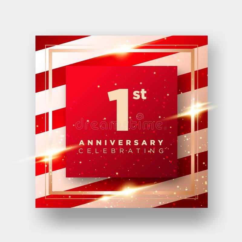 Cartão do vetor da celebração de um aniversário de 1 ano fundo luxuoso do primeiro aniversário Disposição elegante para o cartão, ilustração royalty free