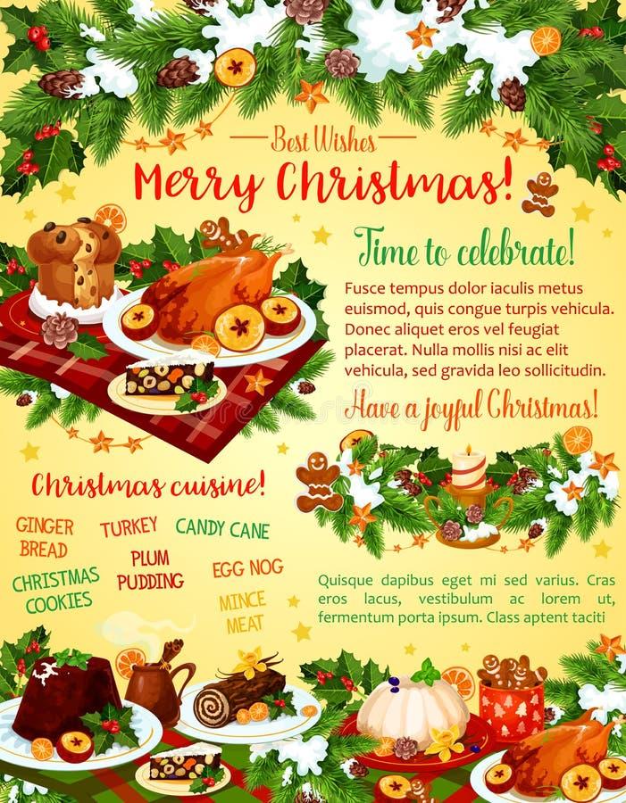 Cartão do vetor da celebração do jantar de Natal ilustração stock