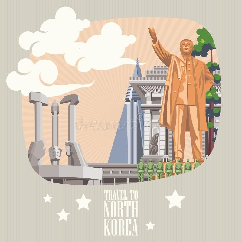 Cartão do vetor da Coreia do Norte com marcos coreanos ilustração royalty free
