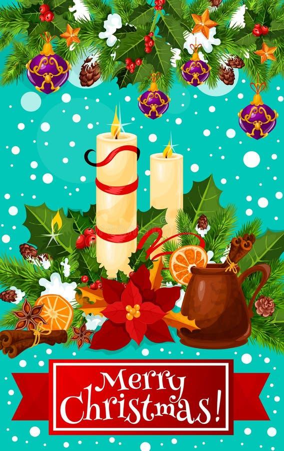 Cartão do vetor da grinalda da vela do Feliz Natal ilustração royalty free
