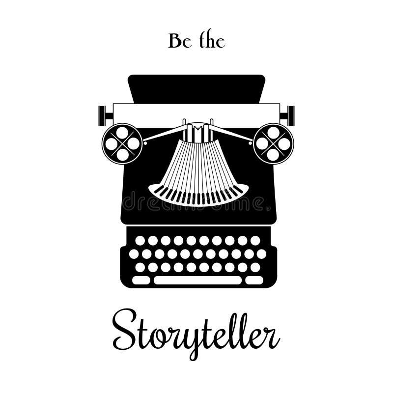 Cartão do vetor da máquina de escrever - seja o contador de histórias ilustração royalty free
