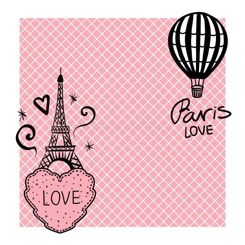 Cartão do vetor da tração da mão dos corações e a torre Eiffel e o balão ilustração do vetor