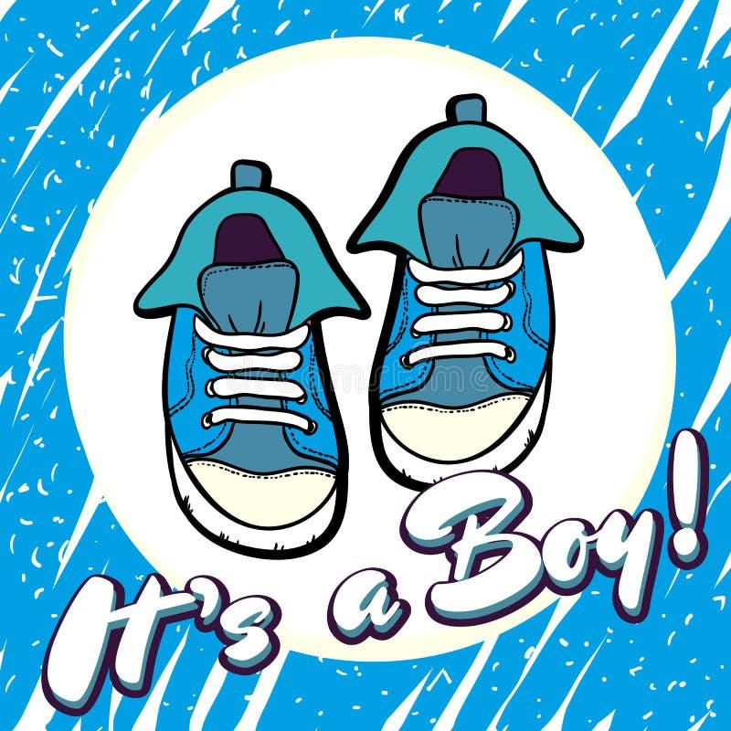 Cartão do vetor das felicitações do chuveiro do bebê Anúncio do bebê no azul É um menino com as sapatas das crianças no círculo ilustração do vetor