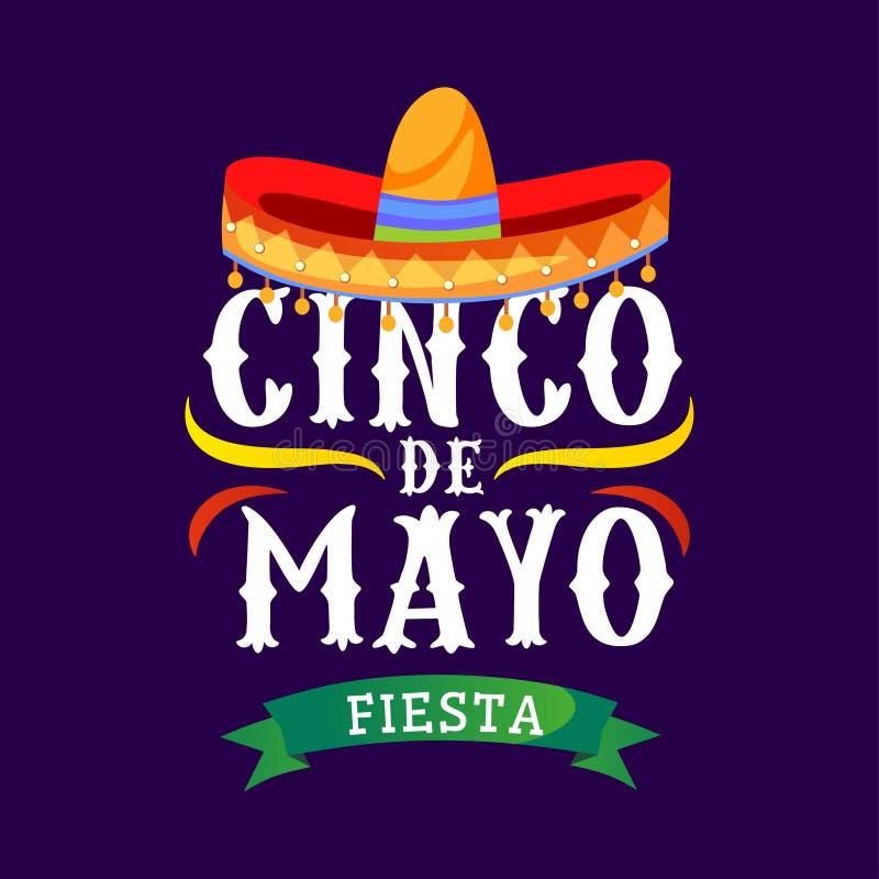 Cartão do vetor de Cinco de Mayo com o sombreiro mexicano tradicional e para florescer elementos r ilustração stock