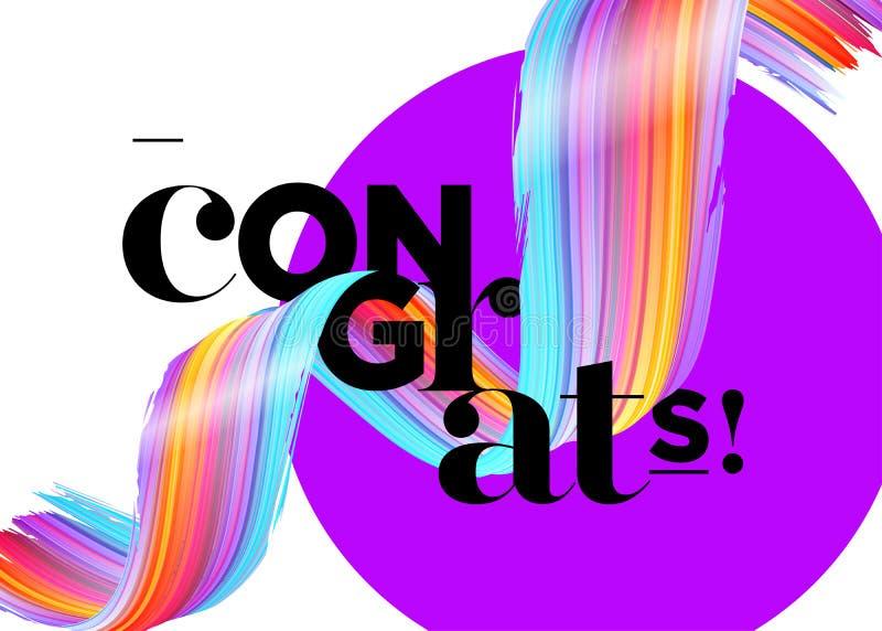 Cartão do vetor de Congrats As felicitações graduam o logotipo 2018 ilustração royalty free
