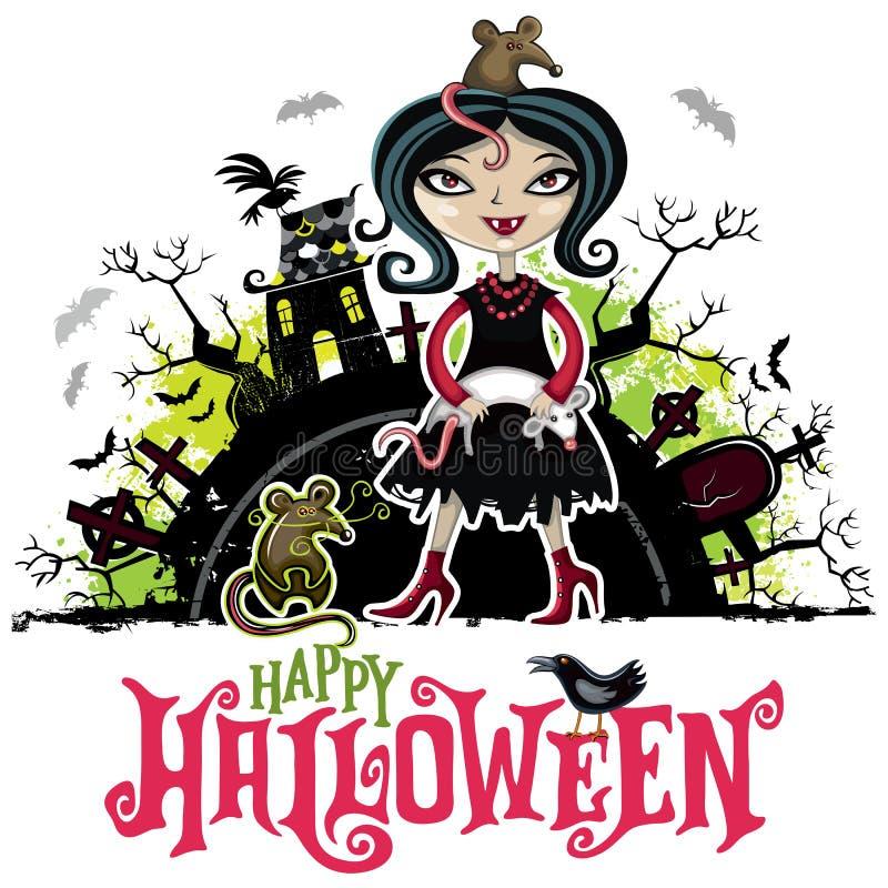Cartão do vetor de Dia das Bruxas Menina no traje do vampiro Série das crianças fotografia de stock royalty free