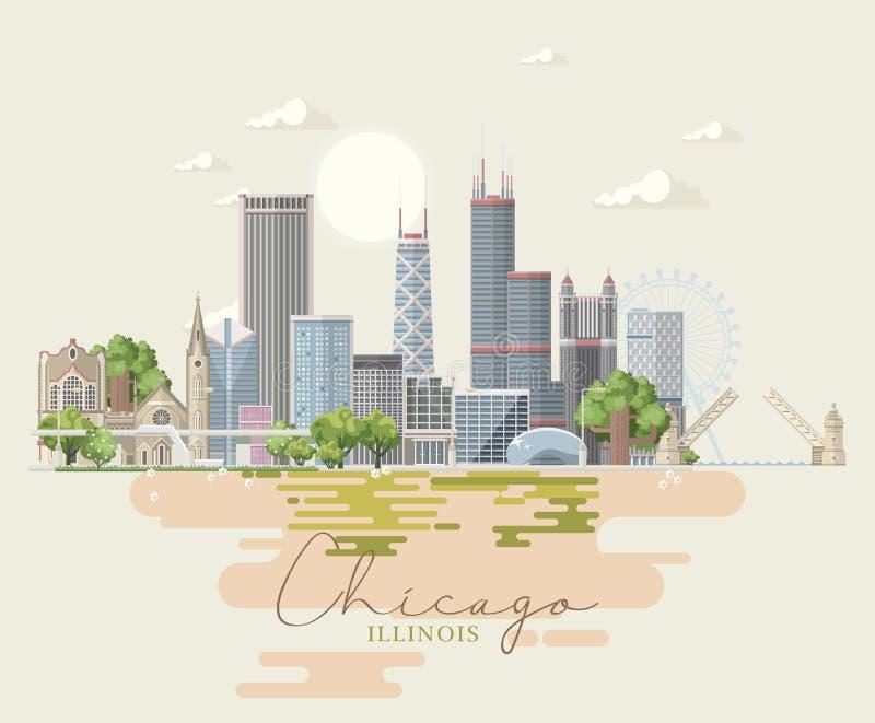 Cartão do vetor de Illinois Estado de E.U. Estados Unidos da América ilustração royalty free