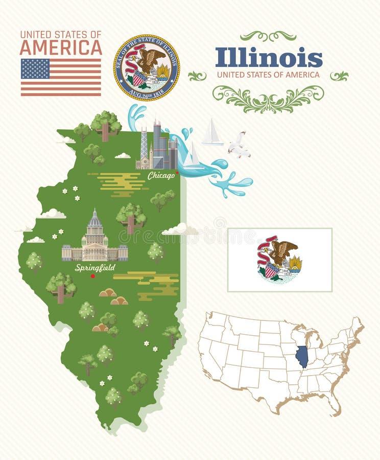 Cartão do vetor de Illinois mapa Estado de E.U. Estados Unidos da América ilustração royalty free