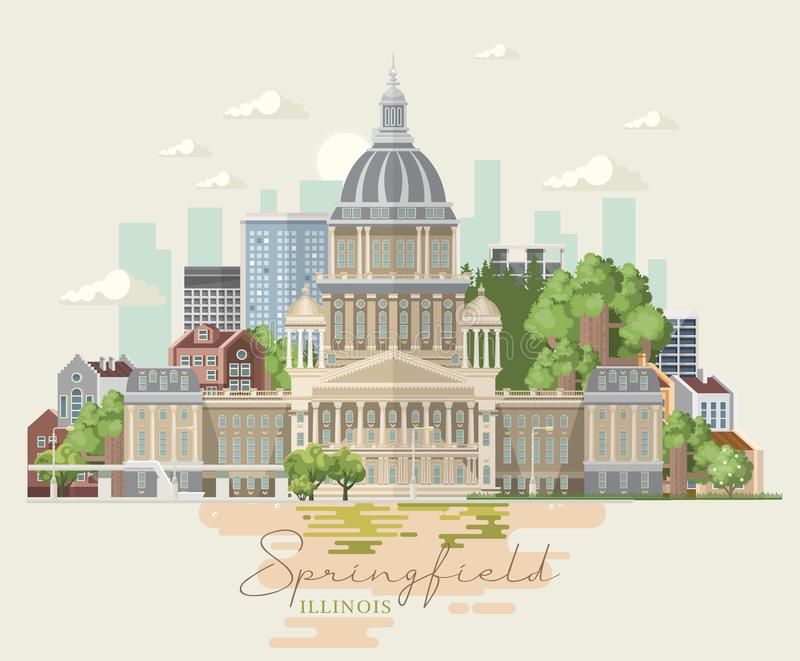 Cartão do vetor de Illinois springfield Estado de E.U. Estados Unidos da América ilustração royalty free