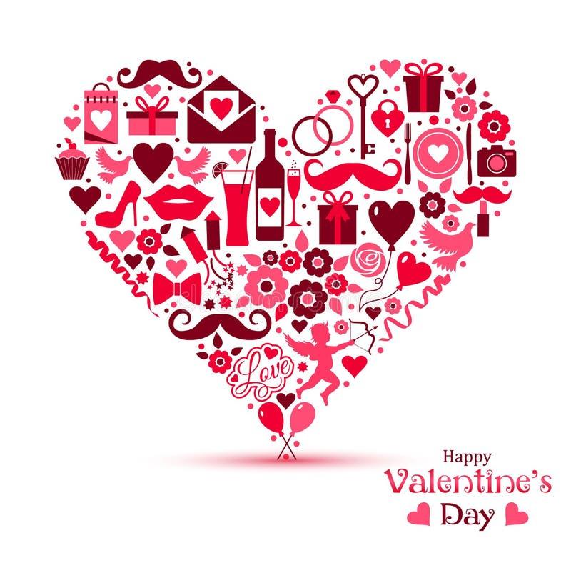 Cartão do vetor de Valentine Day ilustração stock