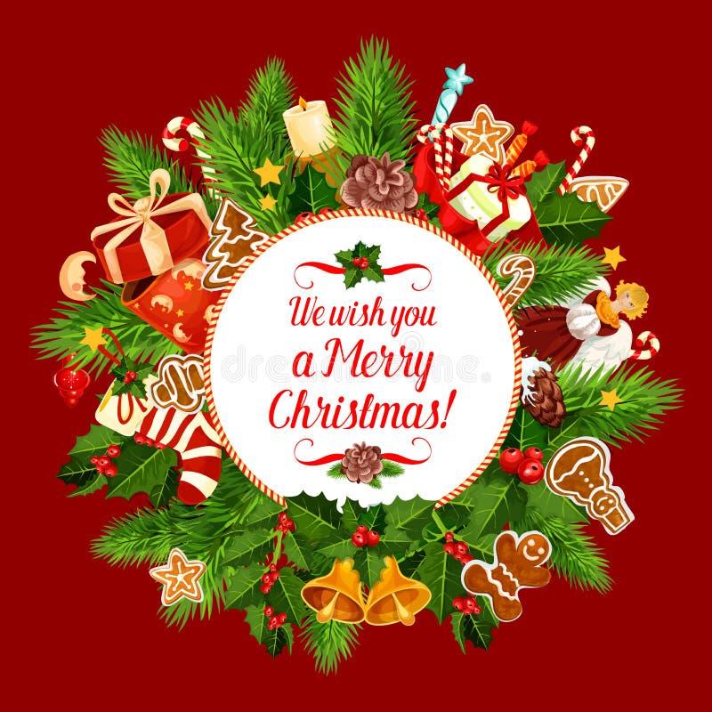 Cartão do vetor do desejo do feriado do Feliz Natal ilustração do vetor
