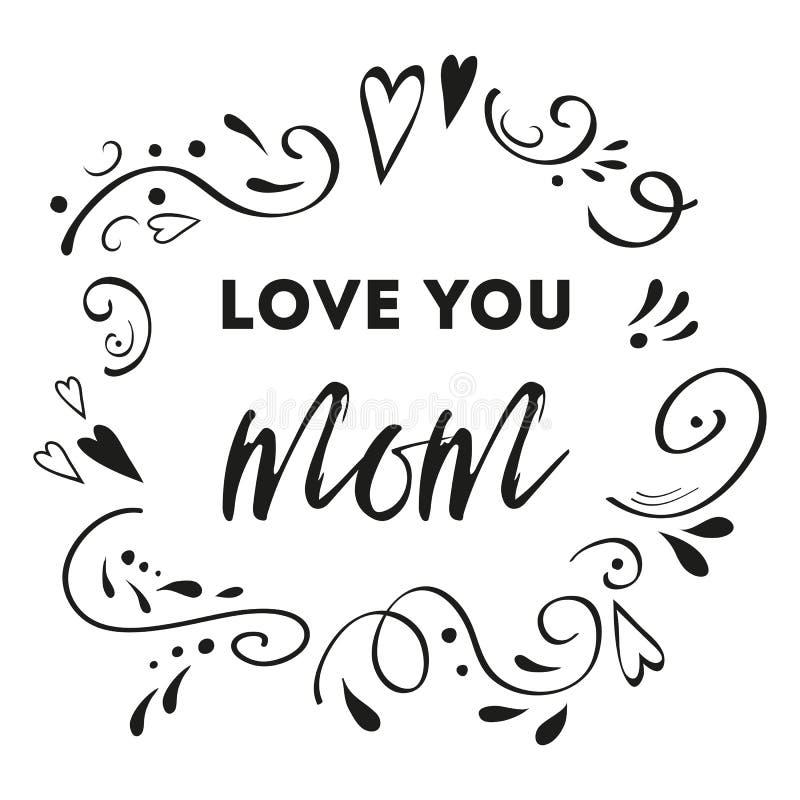 Cartão do vetor do dia de mães Amor do texto você mamã Mão abstrata romântica prin tirado da bandeira do cartão do ornamento ilustração stock