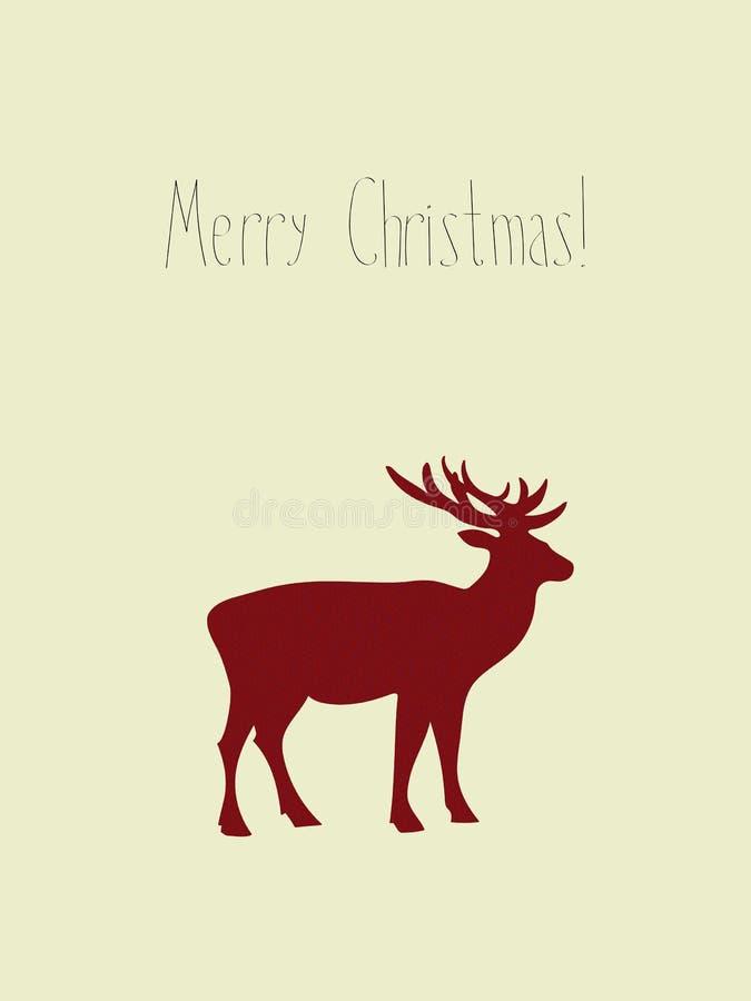 Cartão do vetor do feriado do Natal dos cervos ilustração royalty free