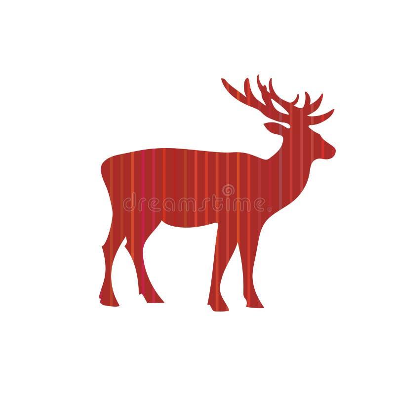 Cartão do vetor do feriado do Natal dos cervos ilustração do vetor