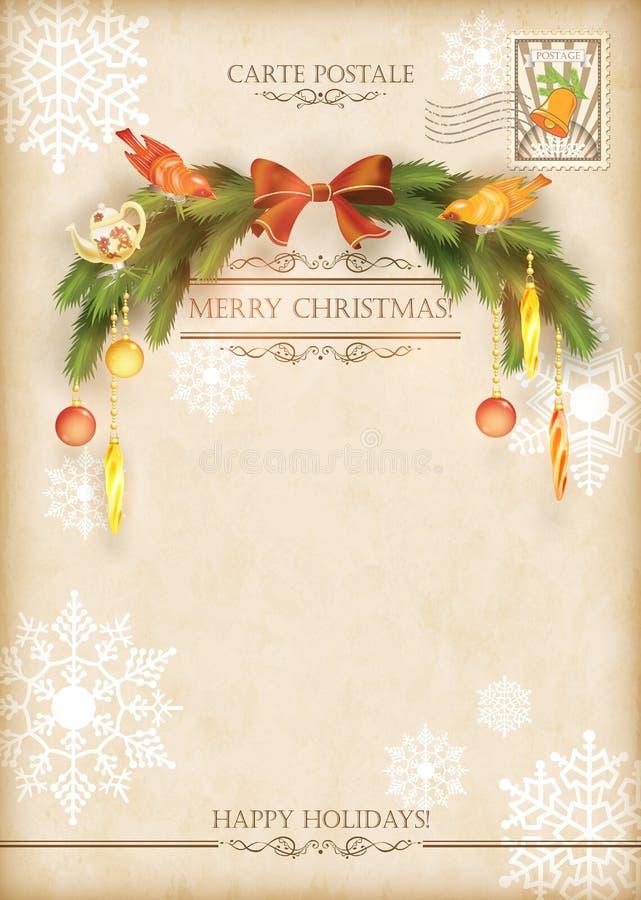 Cartão do vetor do feriado do vintage do Natal ilustração royalty free