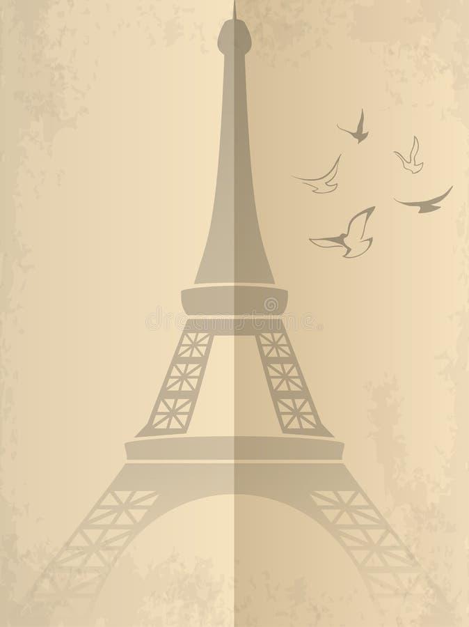 Cartão do vetor do vintage com torre Eiffel ilustração do vetor