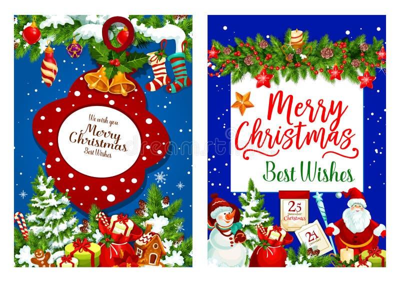 Cartão do vetor dos presentes de época natalícia do Natal ilustração stock