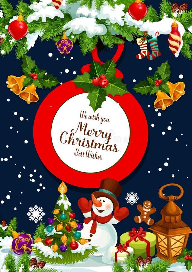 Cartão do vetor dos presentes de Santa do Feliz Natal ilustração stock