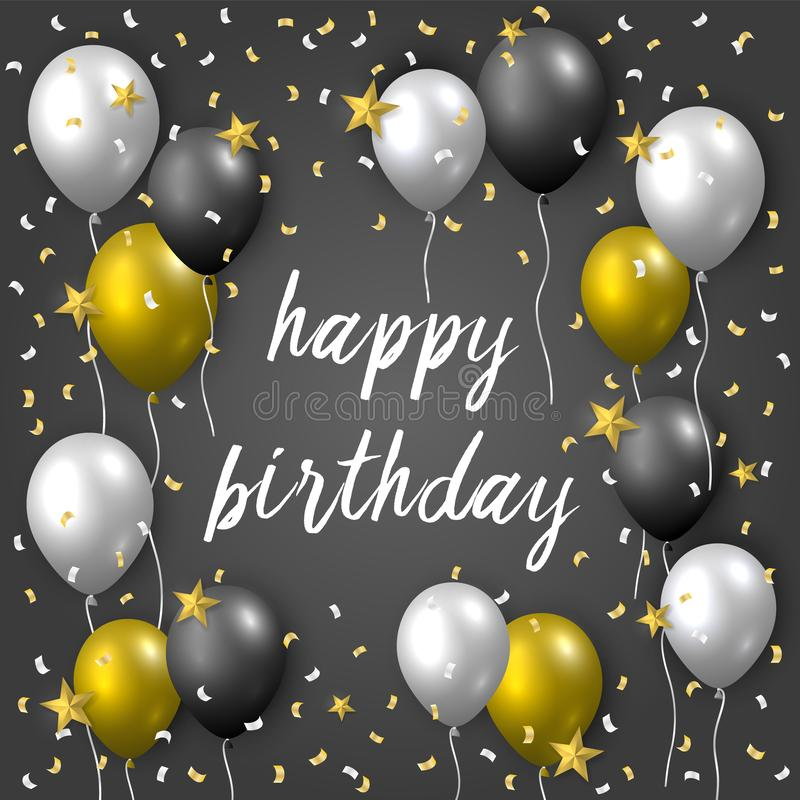 Cartão do vetor do feliz aniversario com os balões do partido, confetes e as estrelas de voo dourados, de prata e pretos no fundo ilustração stock