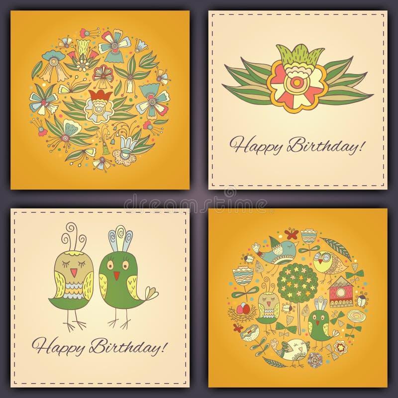 Cartão do vetor do feliz aniversario com os pássaros e as flores abstratos da garatuja fotografia de stock