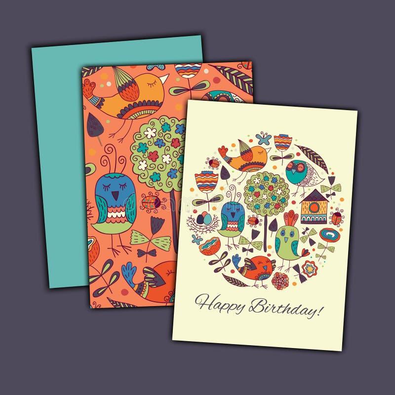 Cartão do vetor do feliz aniversario com os pássaros e as flores abstratos da garatuja imagens de stock