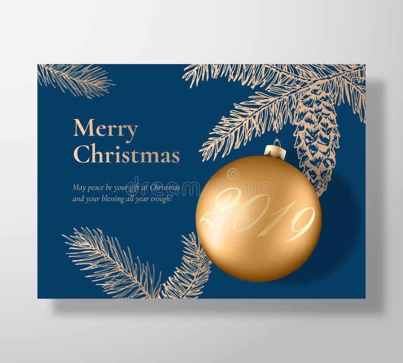 Cartão do vetor do Feliz Natal, cartaz ou fundo abstrato do feriado Bola do Xmas com sombras e abeto macios do esboço ilustração do vetor
