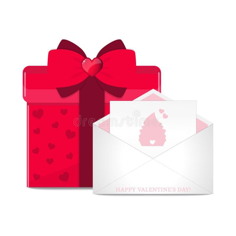 Cartão do vetor no envelope e na caixa de presente vermelha ilustração do vetor