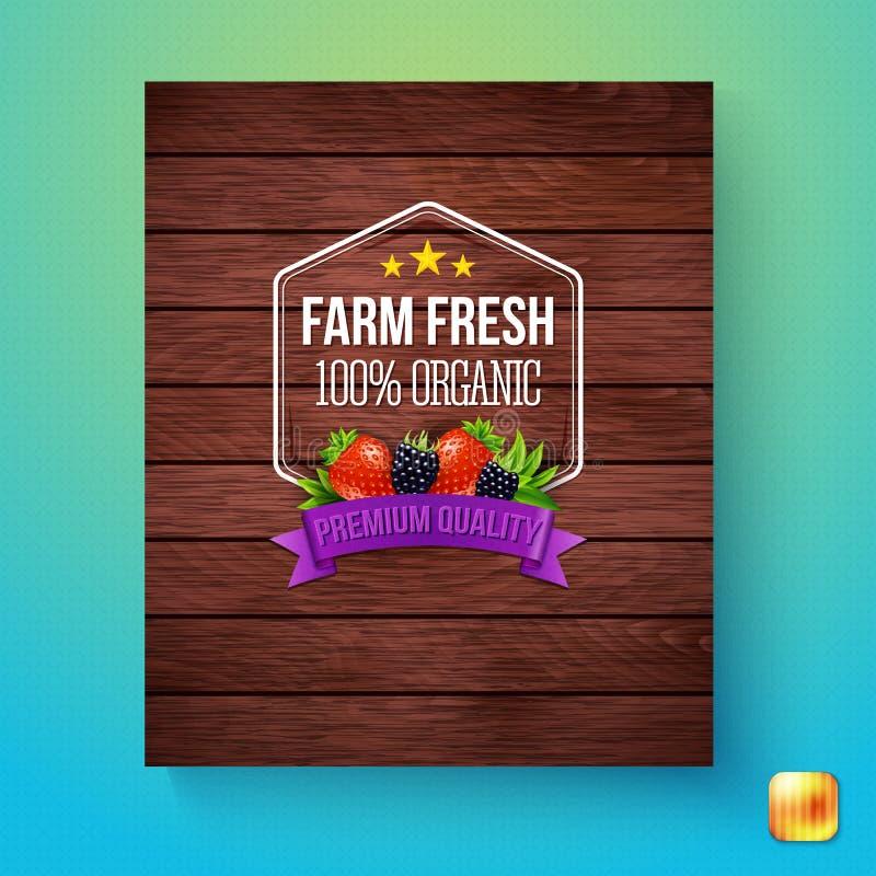 Cartão do vetor do sinal orgânico fresco de 100 por cento da exploração agrícola ilustração royalty free