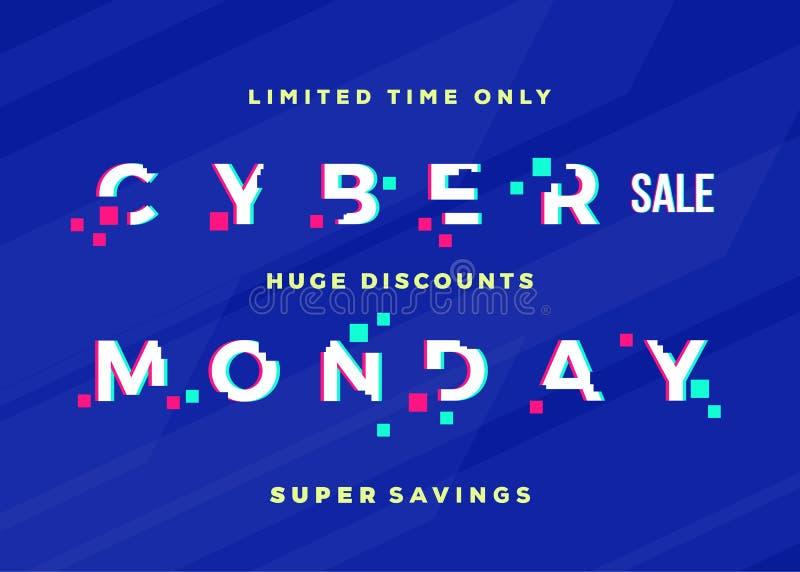 Cartão do vetor do sumário da venda de segunda-feira do Cyber, Flayer ou molde do cartaz Tipografia moderna, pixéis e efeito do p ilustração stock