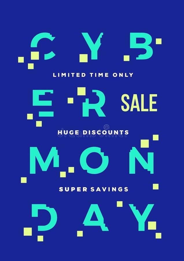 Cartão do vetor do sumário da venda de segunda-feira do Cyber ou molde do cartaz Tipografia moderna, pixéis e efeito do pulso ale ilustração do vetor