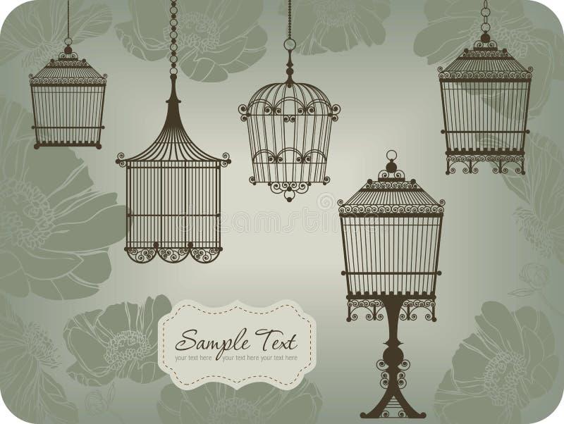 Cartão do vintage com birdcages ilustração royalty free