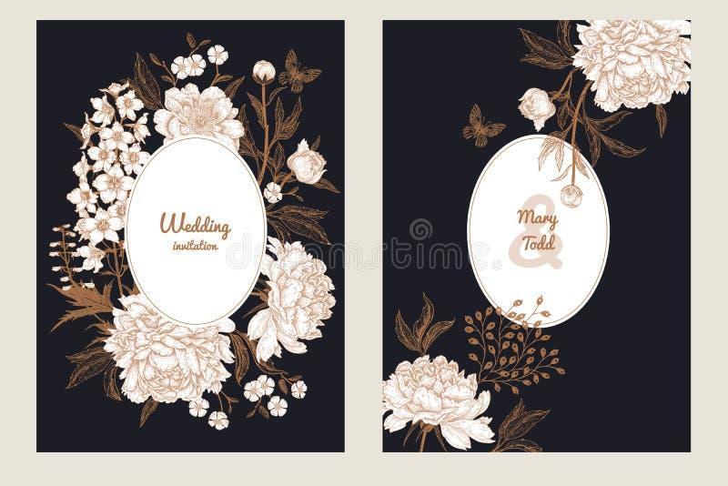 Cartão do vintage com a borboleta e as flores ajustadas ilustração do vetor
