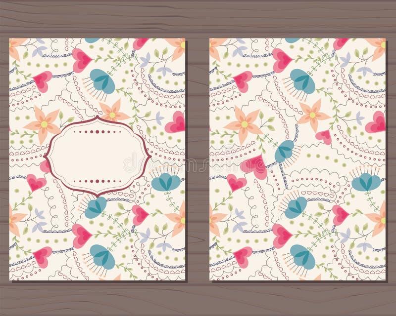 Download Cartão Do Vintage Com Flores Ilustração Stock - Ilustração de projeto, bebê: 80101797